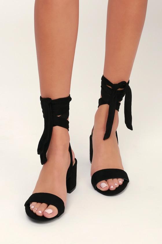 bcef4dcece4 Black Heels - Vegan Suede Heels - Lace-Up Heels - Block Heels