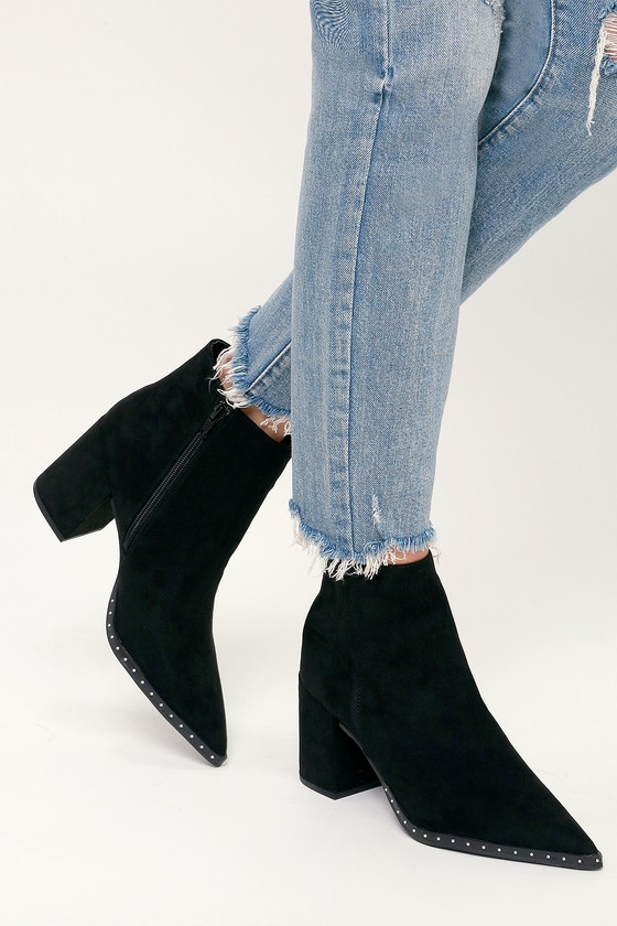 72a216c5b7010 Cute Black Boots - Vegan Suede Booties - Studded Ankle Booties