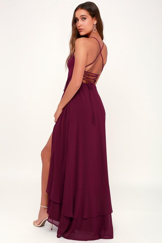 463aeb9a162 Glam Burgundy Maxi Dress - Lace-Up Maxi Dress - Ruffle Maxi Dress