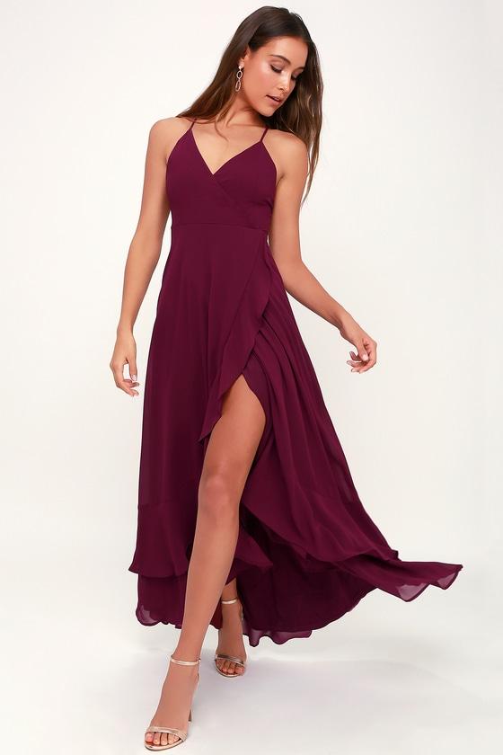 a0652e8aa2a Glam Burgundy Maxi Dress - Lace-Up Maxi Dress - Ruffle Maxi Dress