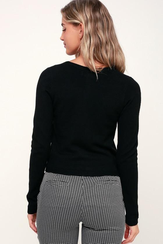 7493e8b0a7 Cute Black Cardigan - Black Knit Sweater - Knit Cardigan Sweater