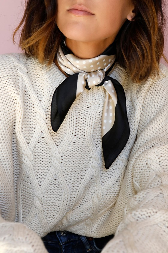 Vintage Scarves- New in the 1920s to 1960s Styles Genevieve Black and Beige Polka Dot Scarf - Lulus $12.00 AT vintagedancer.com