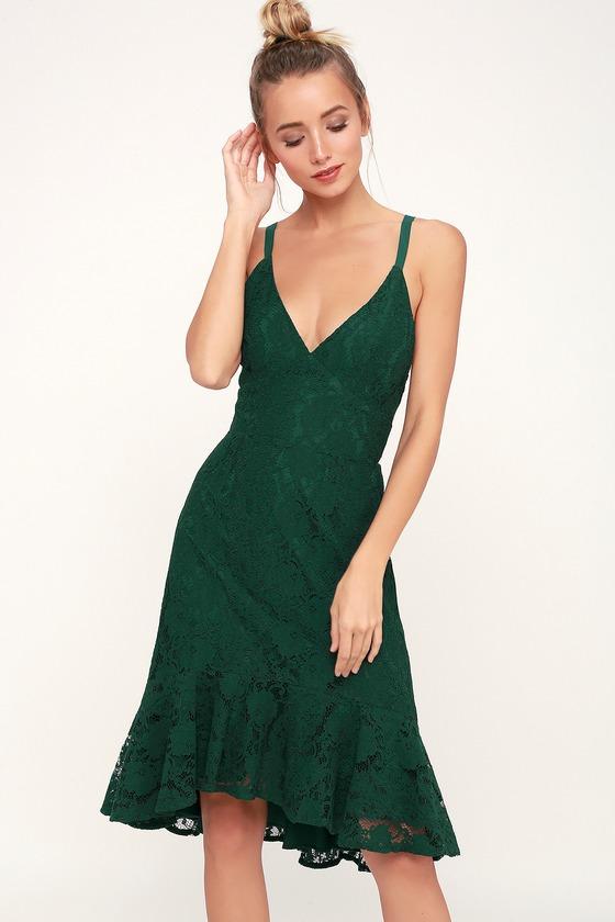 27c46fc7fb7d Sexy Dark Green Dress - Lace Dress - Midi Dress - Backless Dress