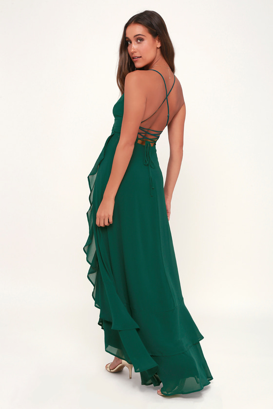 e8733dee11589 Glam Emerald Maxi Dress - Lace-Up Maxi Dress - Ruffle Maxi Dress