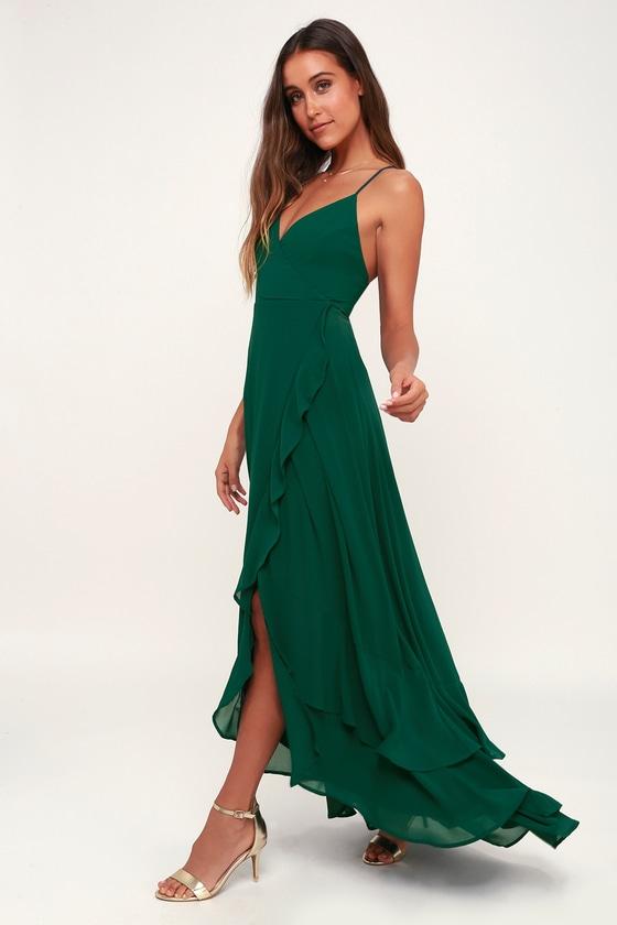 b7d738b16 Glam Emerald Maxi Dress - Lace-Up Maxi Dress - Ruffle Maxi Dress