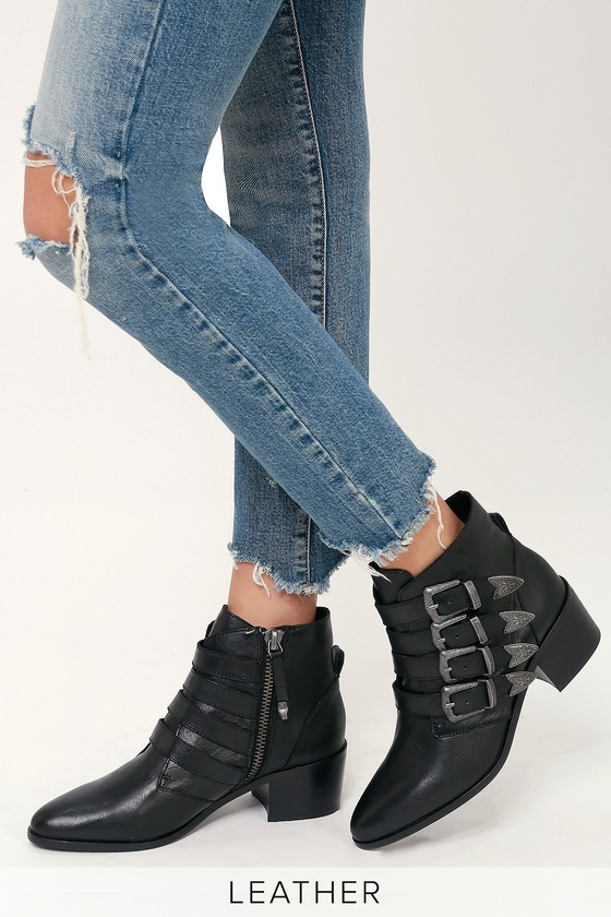 4667390aacf Steve Madden Billey - Black Leather Boots - Belted Ankle Booties