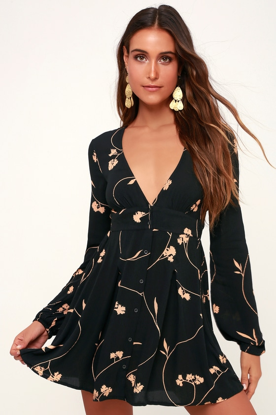 c1360c47ab92b Billabong Your Love - Black Floral Dress - Button-Up Skater Dress
