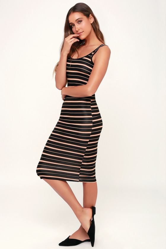 7bde5f2e045a Billabong Share Joy - Black Midi Dress - Striped Midi Dress