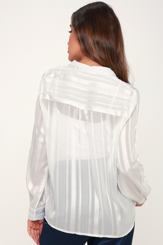 e997fe7f9 Chic White Top - Sheer Striped Top - Striped Button-Up Top
