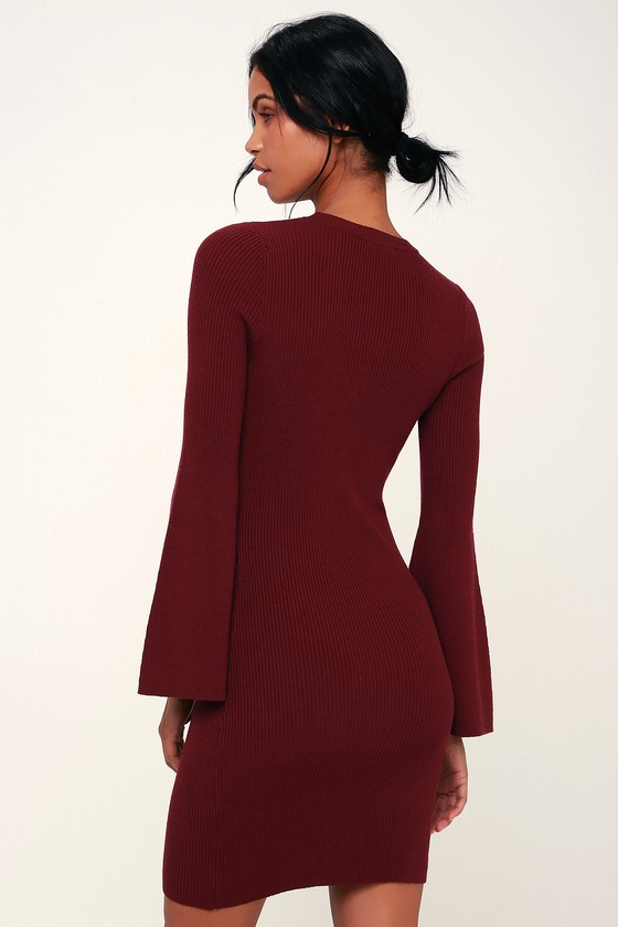 c42d6e6784 Hold Me Burgundy Ribbed Bell Sleeve Bodycon Sweater Dress