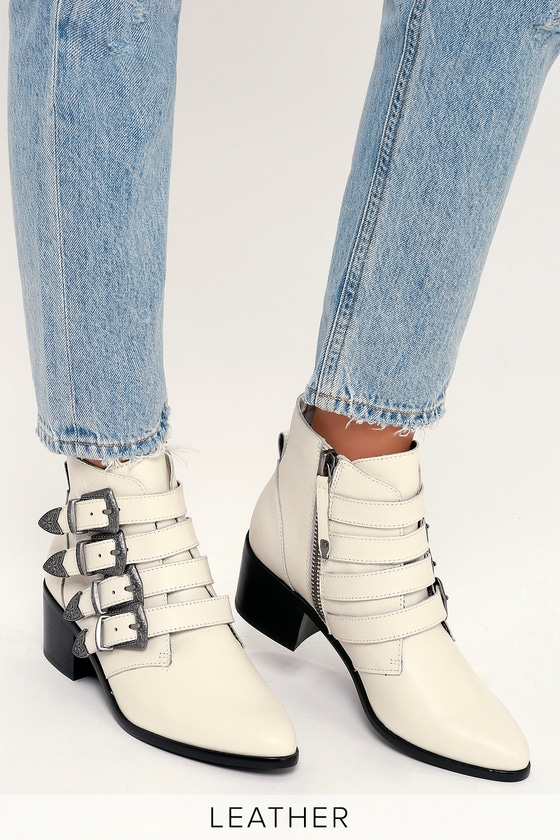 175b4f475e0 Steve Madden Billey - White Leather Boots - Belted Ankle Booties
