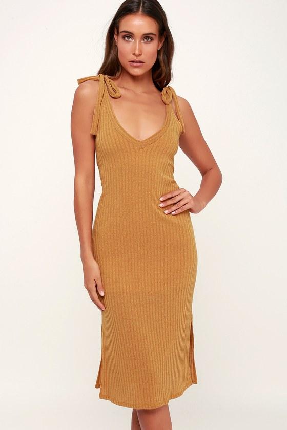 4a7e3e1c69c Cute Mustard Yellow Dress - Ribbed Knit Dress - Midi Dress