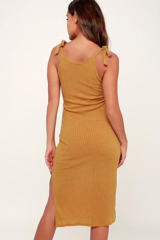 41fe72f70e1 Rosaleen Dark Mustard Yellow Tie-Strap Ribbed Knit Midi Dress