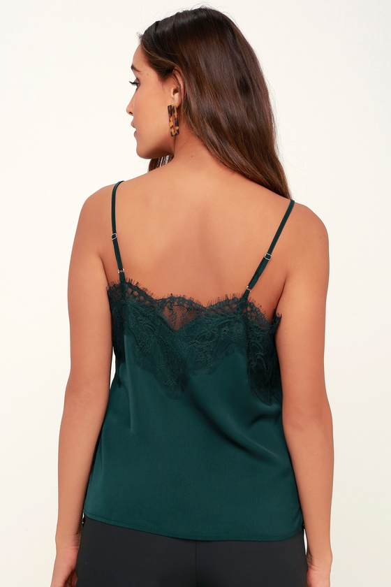 997b585eefe382 Cute Green Lace Top - Black Satin Top - Cami Top - Green Top