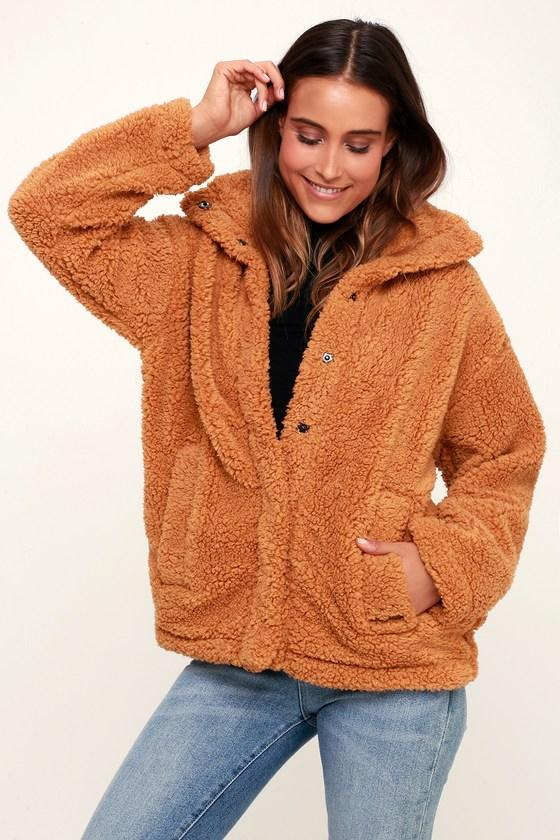 Cozy Days Camel Snap Front Sherpa Jacket