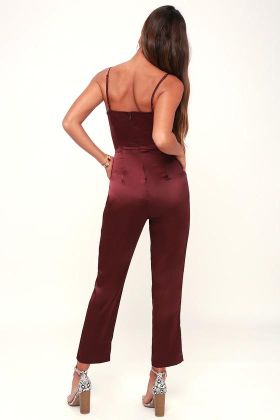 aa061f56cd2b Chic Burgundy Jumpsuit - Satin Jumpsuit - Sleeveless Jumpsuit