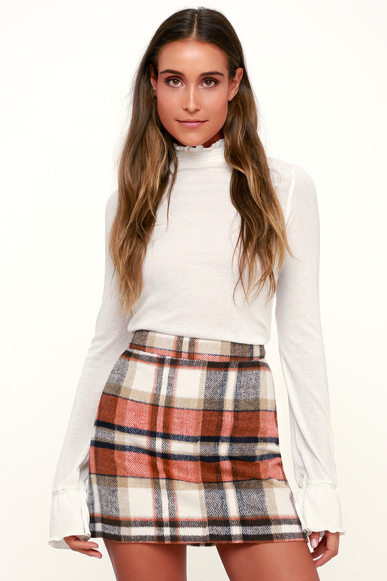 ff5138f5cb Cute Orange Plaid Plaid Skirt - Plaid Mini Skirt - A-Line Skirt