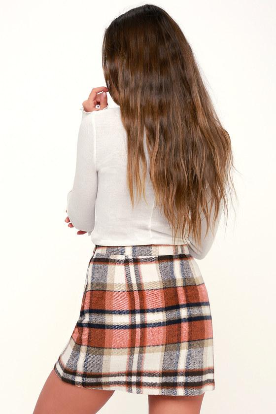 835e1f01f Cute Orange Plaid Plaid Skirt - Plaid Mini Skirt - A-Line Skirt