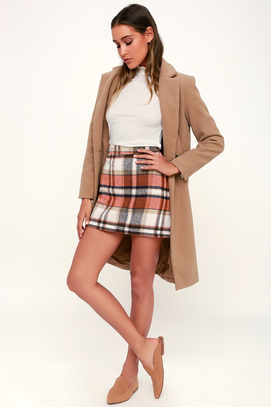 Mad for Plaid Cream and Orange Plaid Mini Skirt