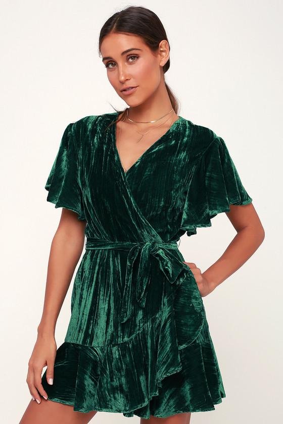 978ecb96b81 BB Dakota Night Fever - Dark Green Dress - Velvet Wrap Dress