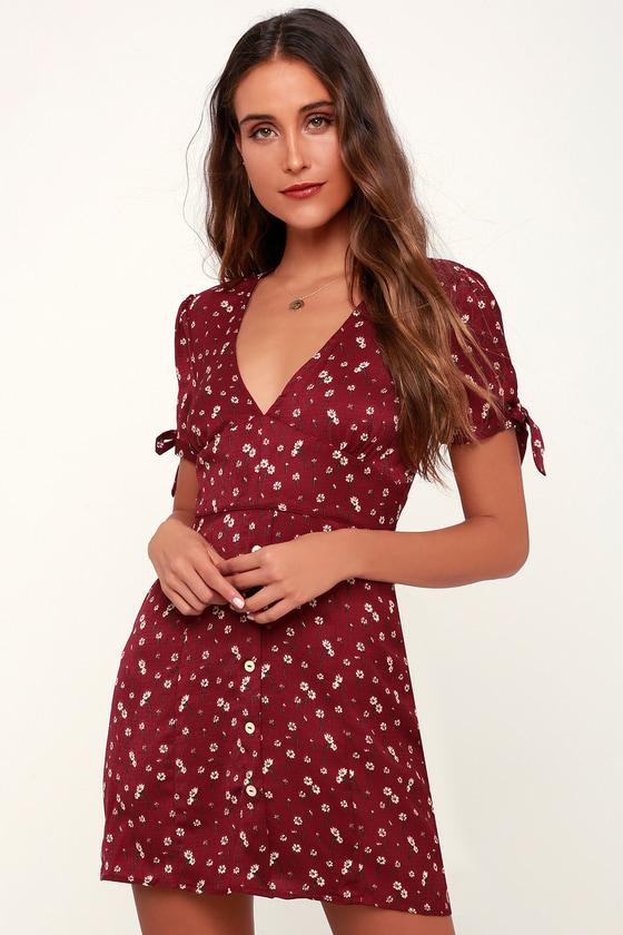 Cute Wine Red Floral Print Dress - Tie-Sleeve Dress -Skater Dress 9ed91ff8e