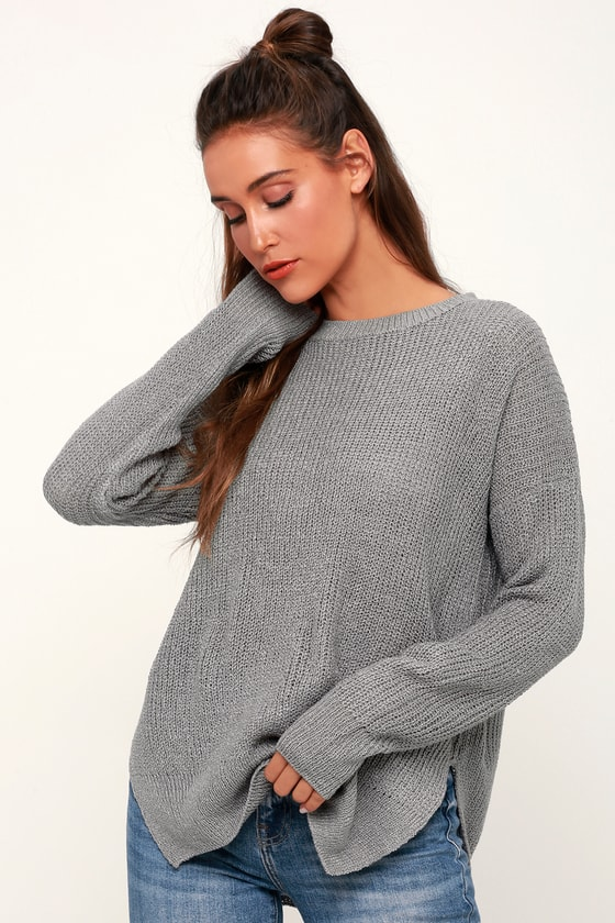 Lulus Exclusive! Our fall fashion prediction is you in the Lulus Exclusive Alyssa Grey Knit Sweater! This must-have sweater is easy to style and comfy with its lightweight knit composition, ribbed crew neckline, long sleeves (with ribbed cuffs), and a relaxed bodice. Ribbed hemline has twin side slits. Throw this cozy top on with your fave jeans for a cozy, casual look. Fit: This garment fits true to size. Length: Size small measures 25.5\