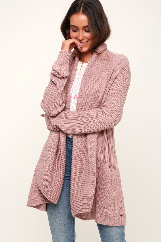 4729d4a58af O Neill Galley - Mauve Knit Cardigan - Open-Front Knit Cardigan