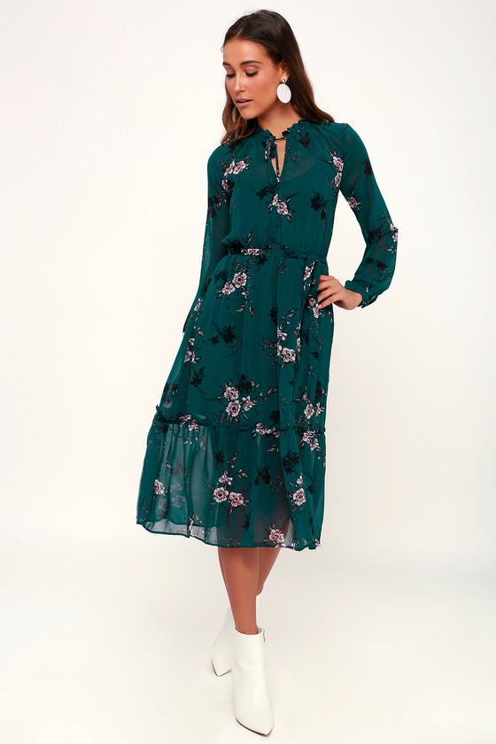 8652beda519 Lovely Teal Green Dress - Floral Print Dress - Long Sleeve Midi