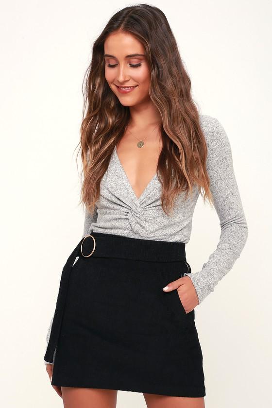 73b067769 Cute Black Skirt - Corduroy Skirt - Mini Skirt - A-line Skirt