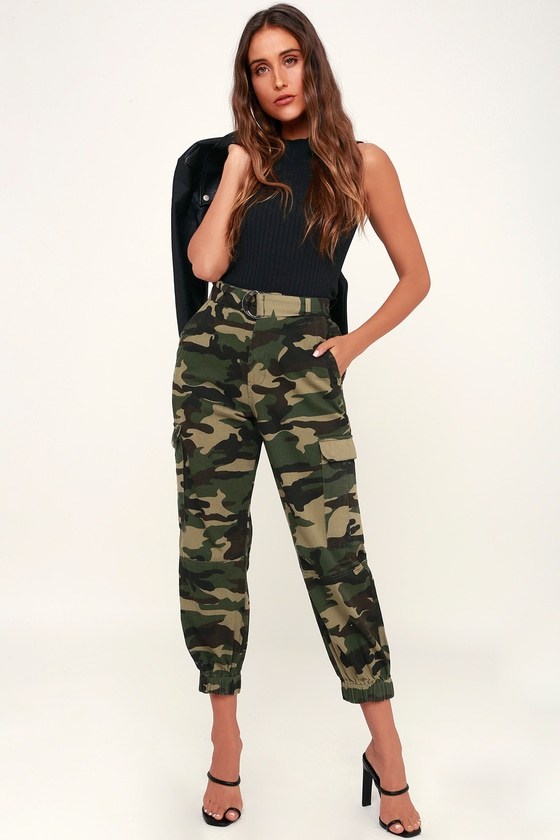 2ad1a8ac3cd Cute Camo Print Pants - Belted Pants - Cargo Pants - Army Pant