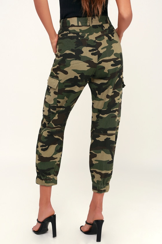 8d850ee9d83 Cute Camo Print Pants - Belted Pants - Cargo Pants - Army Pant