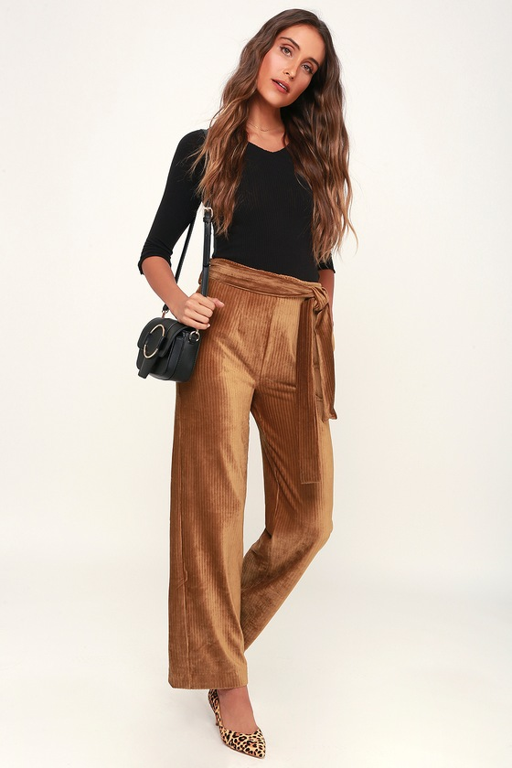 990304402fd Trendy Light Brown Pants - Ribbed Velvet Pants - Wide-Leg Pants