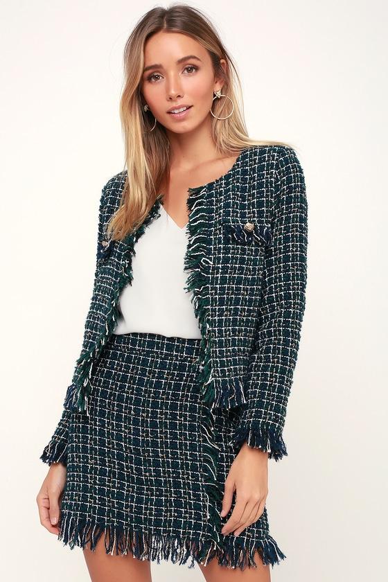 4226a9e17e Fun Green and Black Plaid Jacket - Tweed Jacket - Cropped Jacket