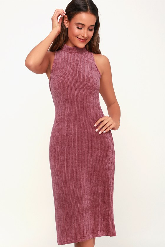 89ae7ff2f1764 Cute Mauve Dress - Chenille Sweater Dress - Mock Neck Dress