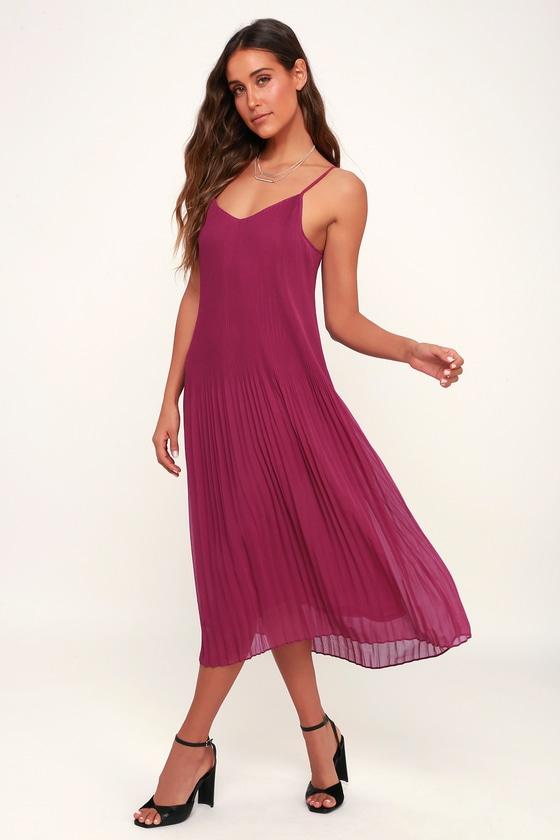 a0058de2ee Cute Magenta Dress - Midi Dress - Pleated Dress - Party Dress
