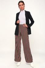 Lasting Happiness Rust Orange Multi Print Wide-Leg Trouser Pants 3f9b3f86f981