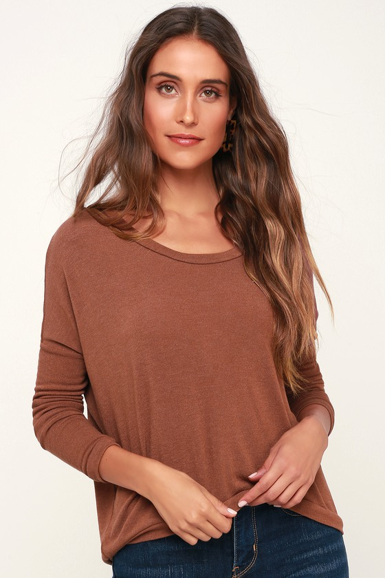 3495c1e98aac10 Project Social T Rosalie - Rust Brown Cardigan - Button Back Top
