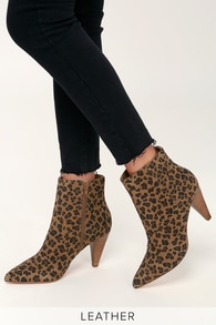Lulus x Matisse Henry Leopard Suede Leather High Heel Ankle Booties 52489d955efb