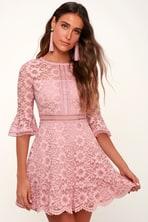 a523486c Rose Gold Sequin Dress - Sequin Skater Dress - Cutout Dress