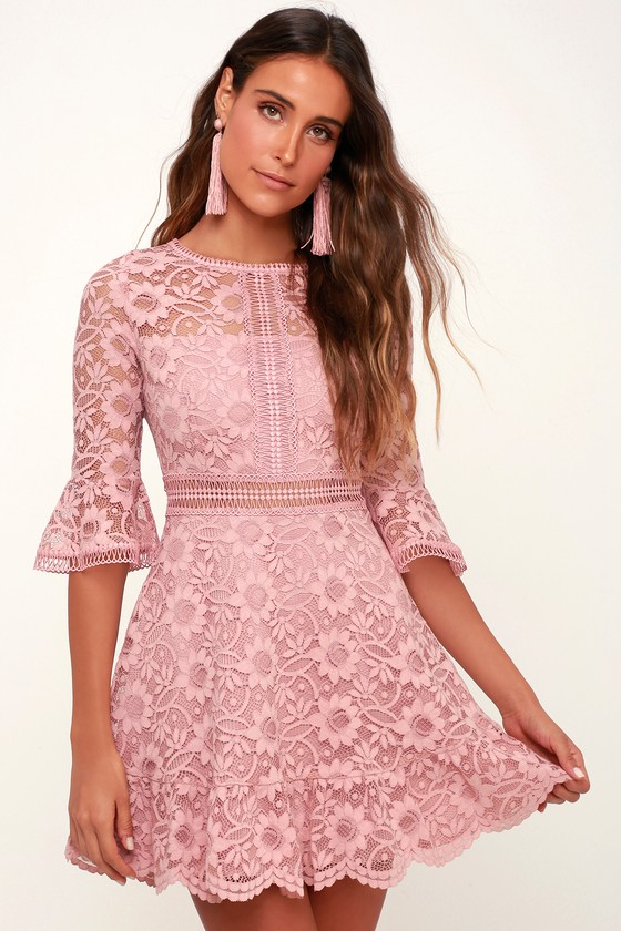 LOVE ON TOP MAUVE PINK LACE SLEEVE SKATER DRESS