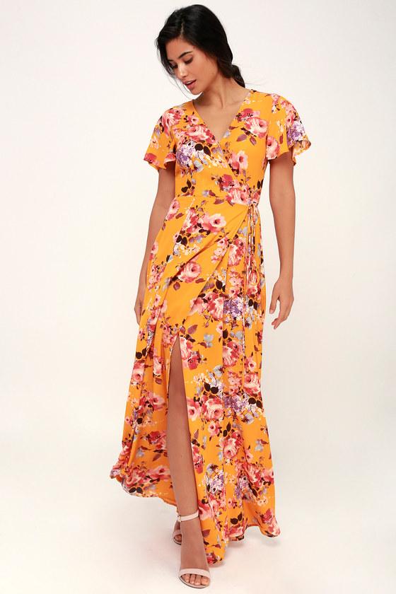 ac2916d4aa57 Lovely Yellow Floral Print Dress - Floral Wrap Dress - Maxi Dress
