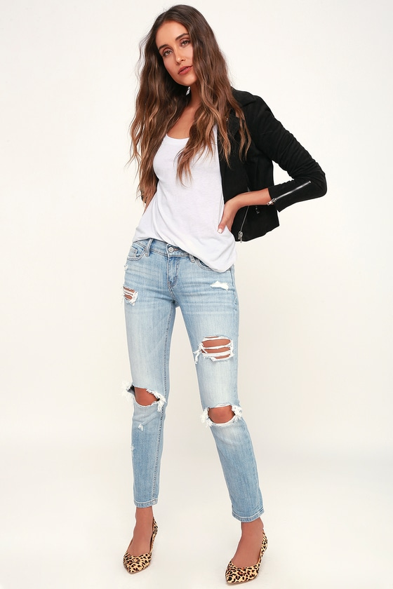 great variety models shop for newest find workmanship Sasha Light Blue Distressed Low-Rise Skinny Jeans