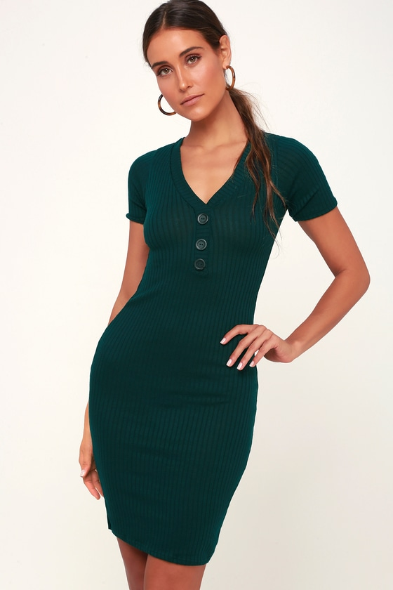 b7a02a947f719 Cute Hunter Green Dress - Ribbed Knit Dress - Bodycon Midi Dress