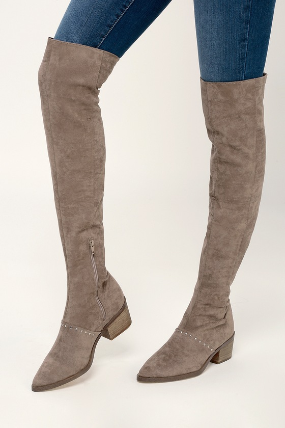 f7ca4d2196e Report Zaria Boots - Taupe Boots - Over the Knee Boots