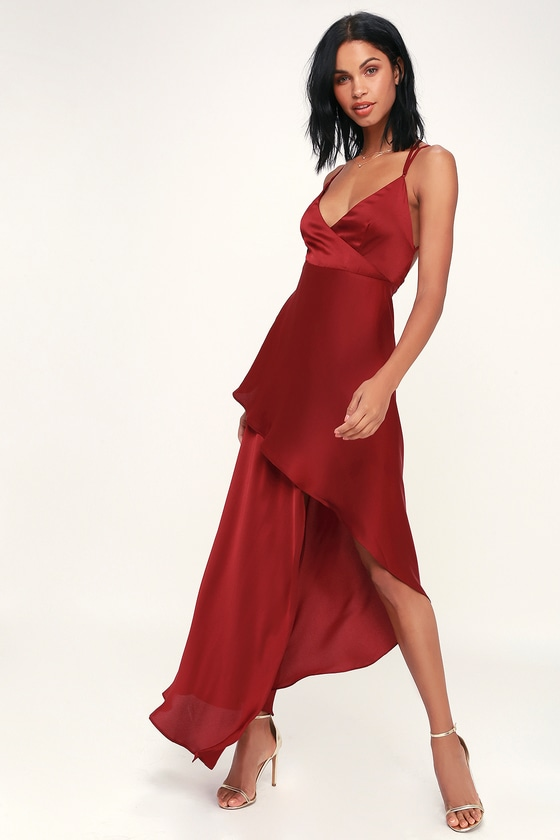 b7b833212bb5c TJD X Lulus Bora Bora - Wine Red Satin Maxi Dress