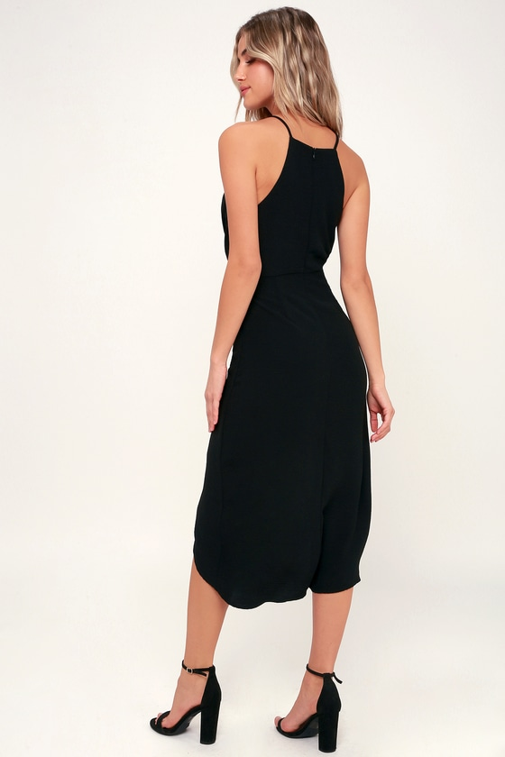 Chic Black Dress - Tie-Front Dress - Midi Dress - High-Low Dress ae12e9e05