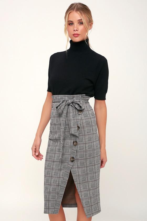 e2fc7051df Cute Plaid Skirt - Paper Bag Skirt - Grey and Black Plaid Skirt