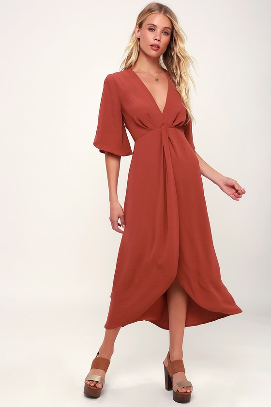 Rust Red Dress Midi Dress Split Sleeve Dress High