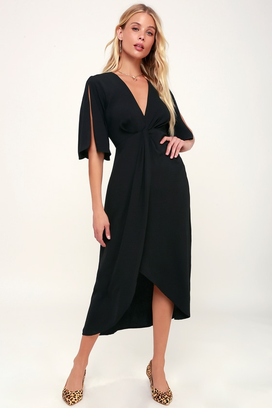 1f96837186 Black Dress - Midi Dress - Split Sleeve Dress - High-Low Dress