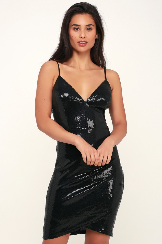 Sexy Black Sequin Dress - Sequin Bodycon Dress - Ruched Bodycon 6c3ae2abb